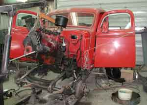 1946 Chevy 1/2 ton being restored at Adler's Antique Autos, Stephentown, NY